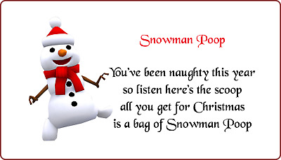 Snowman Poop Christmas Stickers Novelty Poem Labels Present Gift