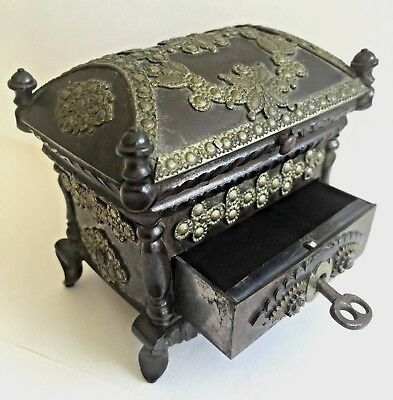 OLD Cast Iron Brass Jewelry Coin Casket Keepsake Chest Box Drawer Key Miniature