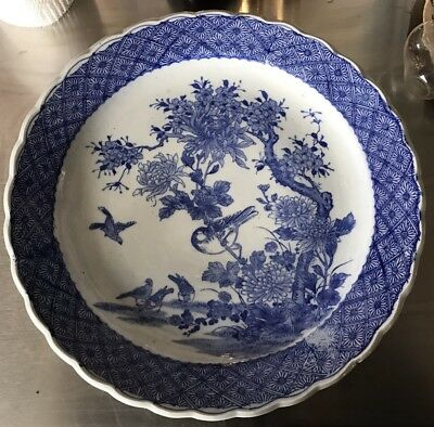 """19th Century Chinese Export Porcelain Hand Painted 16"""" Blue Canton Round Platter"""