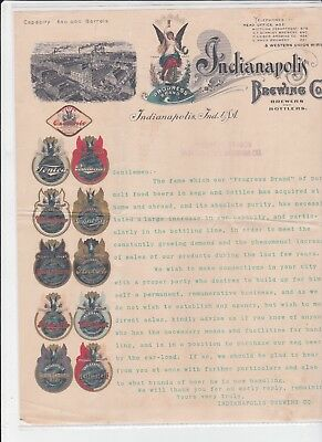 Indianapolis  Brewing Co. Letterhead & Cover  Louiville Branch Stamped On  Paper