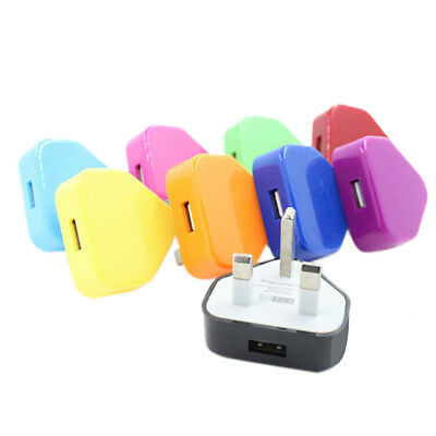 UK Plug Mains Wall USB Power Adaptor Charger For Mobile Cell Phone Tablet GD