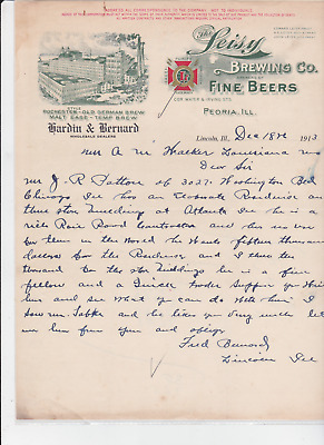 The Leisy  Brewing Co.                     Peoria,ill  Letterhead 1913