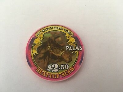 $2.50 Palms 1977 Belmont Stakes Winner Seattle Slew Horse Racing Chip
