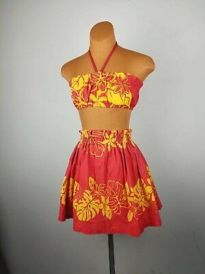 VINTAGE Hawaiian TIKI 2 Piece Girls 14 Womens XS Red FLORAL Set