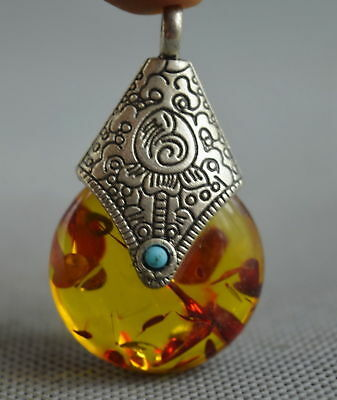 Collectable Handwork Decor Miao Silver Carve Flower Inlay Amber Fashion Pendant