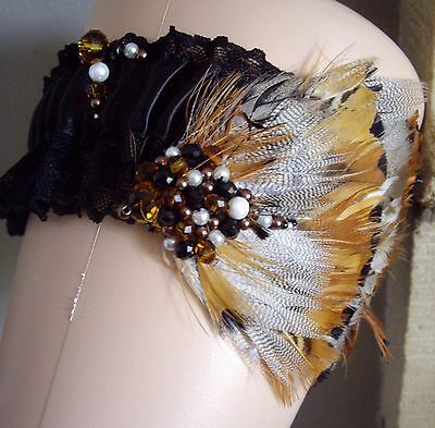Steampunk Black Lace Feather Vintage Style Bride Beaded Wedding Garter Cosplay