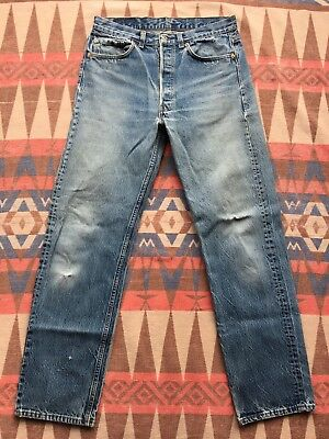 Vtg Levi's 501xx Jeans Red Tab 80's Blue Denim 31x32 Made In USA Distressed