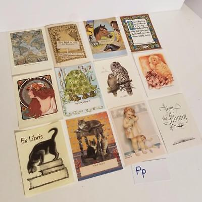 12 vintage book plate paper labels collection lot cat owl horse map kitten lady