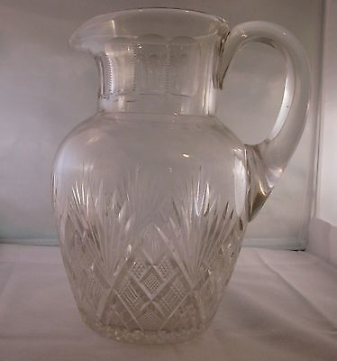 ANTIQUE BAKEWELL & PAGE CUT GLASS WATER PITCHER, PITTSBURGH, c.1825