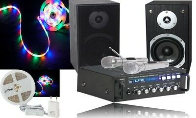 Ensemble Karaoke Ltc Ampli Pa Enceintes 2 Micros Bluetooth Usb Sd + Ruban Led 3M
