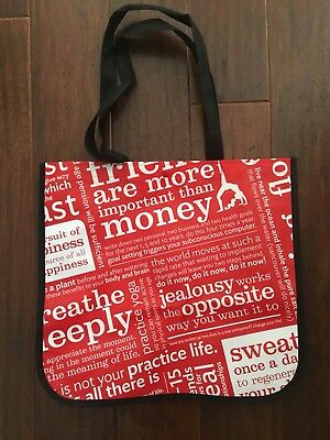 Lululemon Yoga Red White Inspirational Quotes Reusable Plastic Tote/Shopper Bag