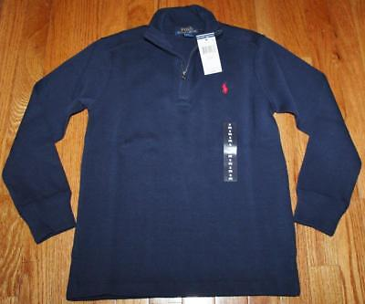 NEW NWT Polo Ralph Lauren Boys Half Zip Navy Blue Pullover Sweater $44 *2Y
