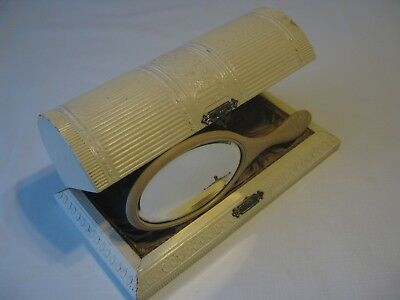 Antique Victorian Celluloid Covered Grooming Box With Porcelain Florence Mirror