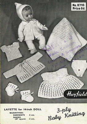 """VINTAGE KNITTING PATTERN  COPY - TO KNIT LAYETTE FOR 14 """" DOLLS- 1950's"""
