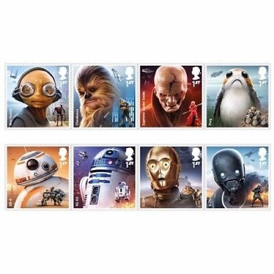GB 2017 Star Wars unmounted mint set of eight 1st class stamps - new