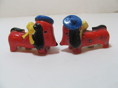 Vintage Pair Of French Dogs Salt & Pepper Shakers W/yellow Bow