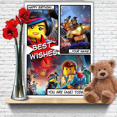 Extra Large Batman Lego Personalised A4 Birthday Card The Movie