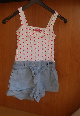 girl all in one summer playsuit  denim&polka dot 4-5 yrs