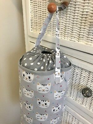 Plastic Grocery Bag Holder Storage Kitchen Accessory Grey Cats Spots White