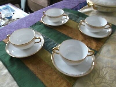 Antique Limoges Enchanting Beauty Set Of 4 Teacups And Saucers, Perfect !!