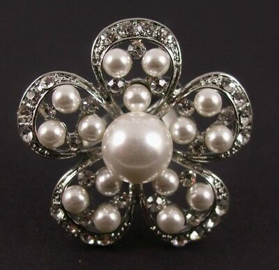 Gorgeous Crystal & Pearl Set Silver Flower Cocktail Ring. Ticket Price £12.