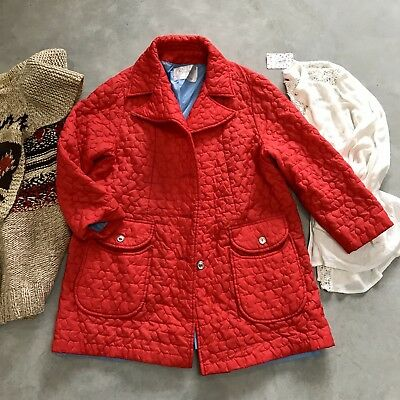 Vintage 60's Quilted Red Sharpee Swing Coat Jacket Retro Mid Century Womens L