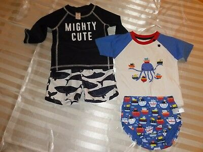 2 Swimwear & Beach Outfits Infant Boys 9M (Carter's & Early Days)