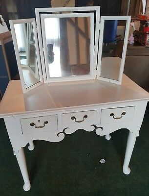 Vintage French Oak style Dressing Table & separate 3 fold mirror