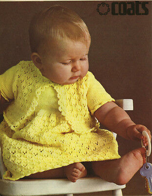 Vintage Knitting Pattern Copy - To Knit A  Lacy  Dress & Jacket For Baby