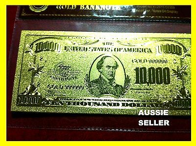 Gold Usa America Note $10000 Dollar Bill Banknote 24Kt Gold