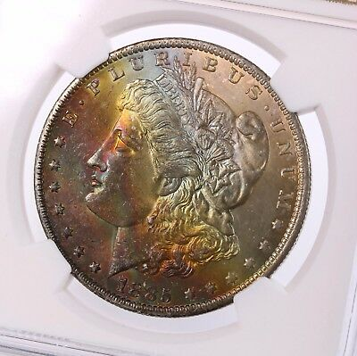 1885-O Morgan $1 NGC Certified MS63 Rainbow Colorful Toned Obverse Silver Dollar