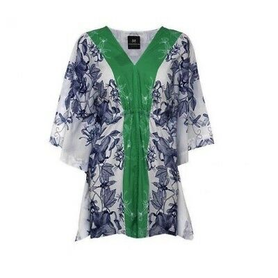 MADDERSON LONDON Charlotte Maternity Caftan Cover Up Floral Blue White M