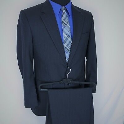JOS.A.BANK MENS (2 PCS) Sz 38 R DARK BLUE PIN STRIPED 2 BUTTON SUIT JACKET+PANTS