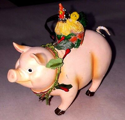 Pink Farm Pig Hog With Chicken On Back Xmas Christmas Resin Ornament