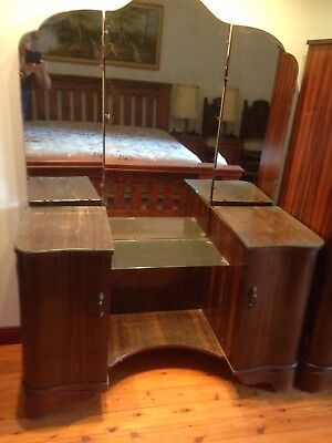 Vintage Antique Timber Wooden Dressing Table With Mirror
