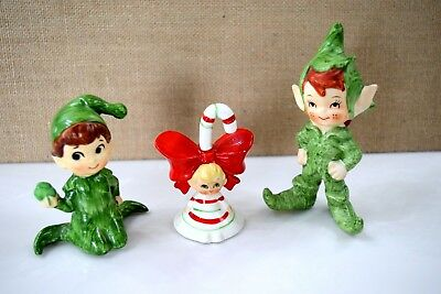 VTG Lefton HOLLY Christmas 2 Pixie Elf and CANDY CANE GIRL Bell Japan