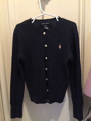 Polo Ralph Lauren Cable Knit Cardigan Navy Size 7 Pink pony pearly front buttons