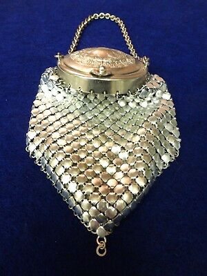 Antique Chain Mail Mesh Purse Victorian Art Nouveau Motif Mirror Lined