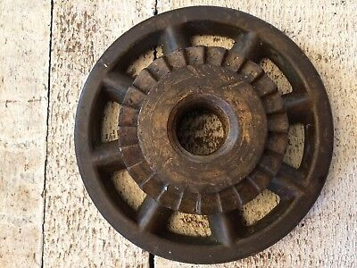 VINTAGE CAST IRON METAL PULLEY SPROCKET GEAR WHEEL ~ Steampunk Industrial  4.5""