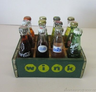 "12 Mixed 3"" Miniature Glass Soda Bottles Wink Coke Pepsi Crush 7up Carrier Crate"