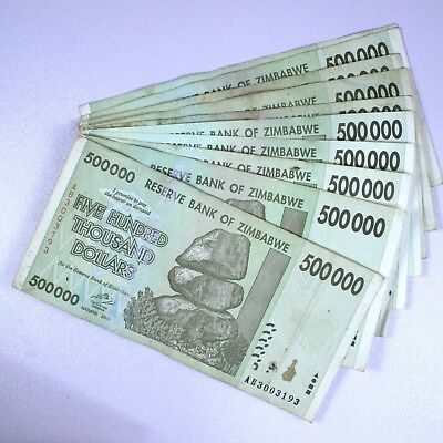 Zimbabwe 500 Thousand Dollars ( 500000 ) 2008, 10 Notes Pcs Bundle Lot, Cir.