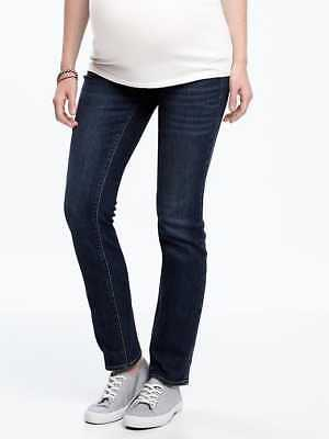 NEW! Old Navy Maternity Jeans SIZE 8 Straight Leg Dark Wash Side Panel