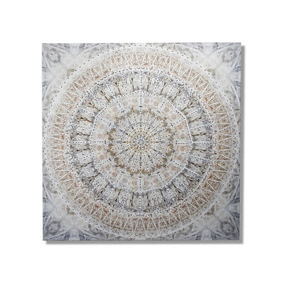 NEW Home Republic Mandala Artwork  Silver Canvas