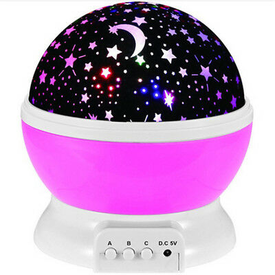 Romantic Night Lamp Rotating Starry Star Moon Sky Projector Lamp kids baby child