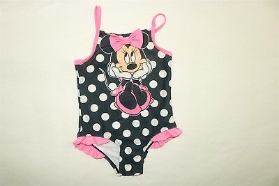 DISNEY Toddler Girl's Minnie Mouse Polka Dot 1 Piece Swimsuit BLACK PINK 4T NWOT
