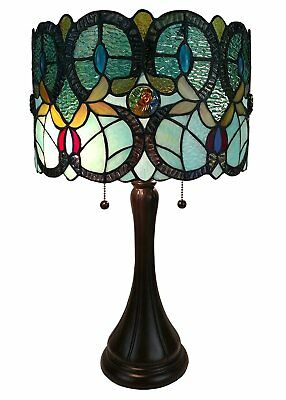 Tiffany Style Table Lamp Art Deco Stained Glass Light Industrial Lighting NEW