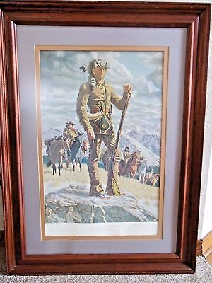 "Signed Joe Grandee ""Jedediah Smith Free Trapper"" Print # 29/450 Framed 29x39 BIG"