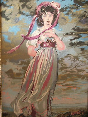 Vintage Long Stitch Tapestry Thomas Lawrence  Pinkie Ornate Frame Large 83X59Cm