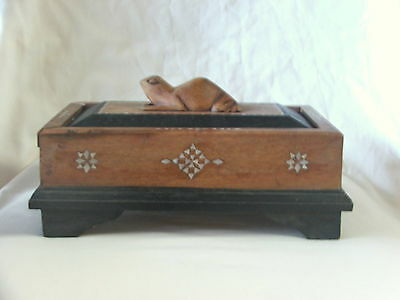 Vintage Wooden Box With Frog On Lid ~ Cigar Card Box Mother Of Pearl Inlay Nice!