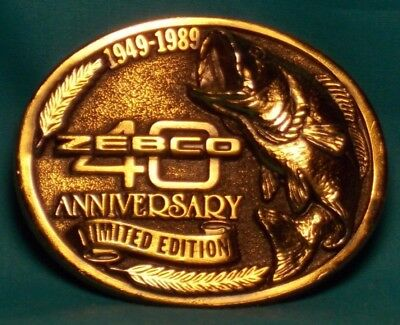ZEBCO 40th Anniversary 1949 - 1989 Limited Edition Brass BELT BUCKLE